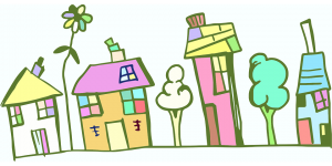 A cartoon image of four brightly coloured houses with trees and plants between them