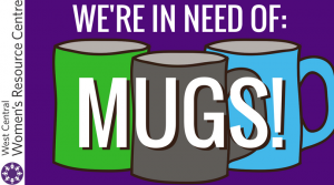 We're in Need of Mugs! Graphic with image of mugs