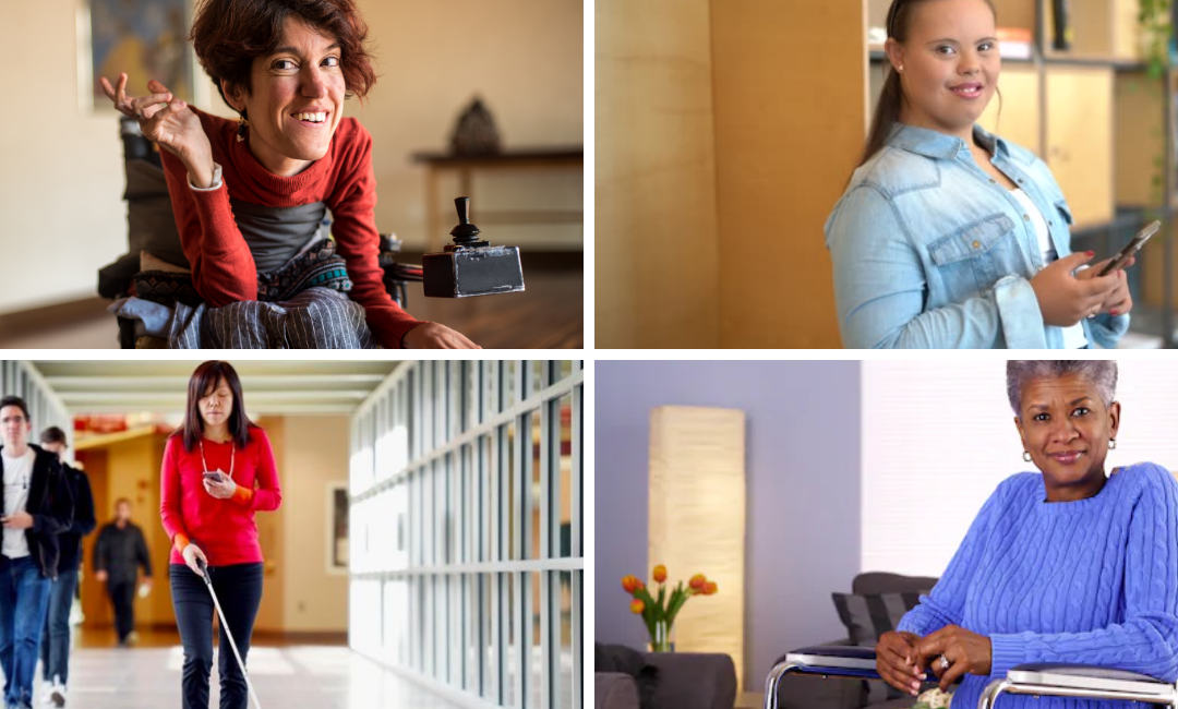 Four photos in a grid. The top left is a person smiling in a wheelchair. The top right shows a young woman smiling holding a cell phone. The bottom right shows a woman in a red sweater walking down a hallway with the aid of a cane. The bottom right shows an older woman in a blue sweater, sitting in a wheelchair