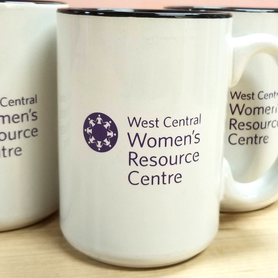 White mugs with WCWRC's logo.